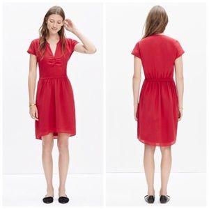 Madewell Silk Fable Dress in Juniper Berry